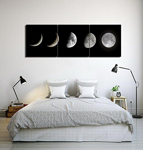 Tema de astronomía panorama de eclipse luna_Cuadro de pintura al óleo moderna Impresión de la imagen en la lona Arte de la pared para la sala de estar,Dormitorio,decoración del hogar,3 piezas 40x40,con marco