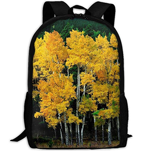 TRFashion Autumn Yellow Green Trees Unisex Custom Backpack School Leisure Sports Book Bags Durable Oxford College Laptop Computer Shoulder Bags Lightweight Travel Daypacks Rucksack
