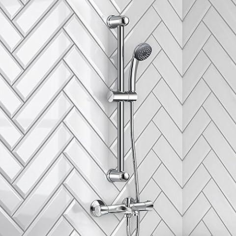 Mitigeur de baignoire Chromé Mitigeur thermostatique apparent Bar Set de douche avec douchette SS5505