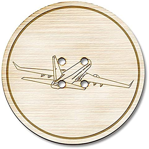 3 x 38mm 'Jumbo Jet' Large Round Wooden Buttons (BT00005226)