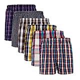 XIAOYAO Boxer Homme American Style, calecons Hommes, Lot de 6 (L, Damier Multicolore D)