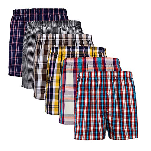 XIAOYAO Herren Boxershorts,Best Basics Boxershorts Hipster American Style Boxer Unterhosen, 6er Pack (L, Mehrfarbig Kariert D)