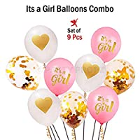 Party Propz Baby Shower Latest high Quality Balloons -9 Pcs Balloons for Baby Shower Decoration / its a Girl Balloons