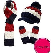 Vimeet Damen Warme Winter Mütze Schal Handschuh Set Wintermütze Gestrickt Mütze Wollmütze Strickmütze Hut Kappe Schnee Hüte Skimütze