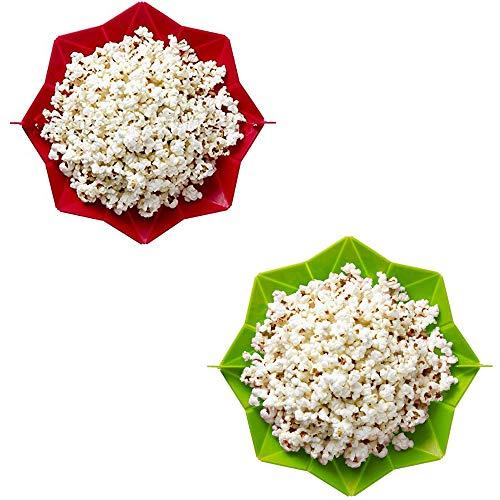 Angela 2 Stücke Faltbare Mikrowelle Silikon Popcorn Schüssel, Küche Klapp Popper Silikon Eimer, Perfekte Home Backen Werkzeuge, Geeignet für Snack Machen