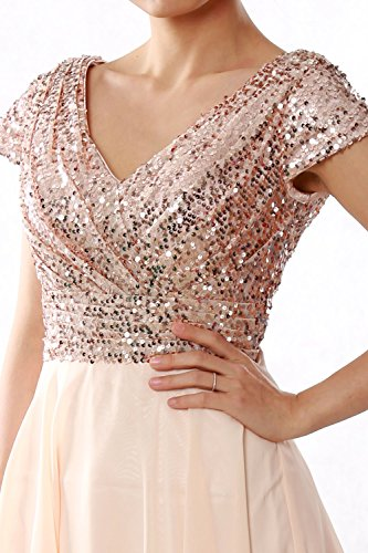MACloth Women Cap Sleeve Short Bridesmaid Dress Sequin Wedding Party Formal Gown Himmelblau