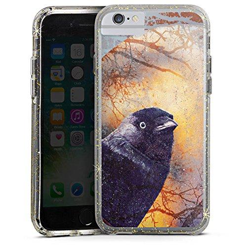 Apple iPhone 7 Bumper Hülle Bumper Case Glitzer Hülle Rabe Raven Bird Bumper Case Glitzer gold