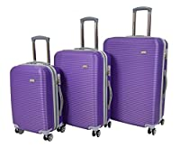 Set of 3 Hard Shell Suitcases 4 Wheel Travel Luggage Lightweight Cabin Bags H007 Purple