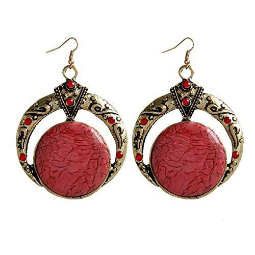 Vintage Elegante Persönlichkeit Legierung Ohrringe Erweiterte Böhmische Accessoires Ethnische Wind Ohrringe Frau Rot