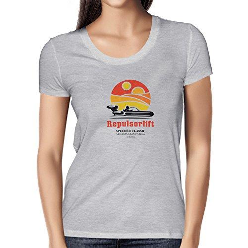 TEXLAB - Repulsorlift - Damen T-Shirt Grau Meliert