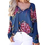 Sannysis Damen Pullover Langarmshirt Elegant Chiffon Bluse V-Ausschnitt Tops T-Shirt Blumendruck Shirts Tunika Bluse