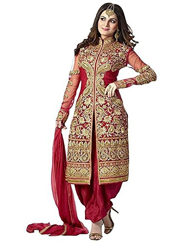 Rudra Fashion Women's Red Georgette Heavy Embroidered Semi-Stitched Salwar Suit Dress Material