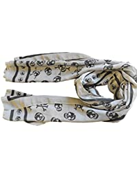 Celebrity Style Scarf Ladies Designer Style, Long in Black, Grey Skull shipping from London