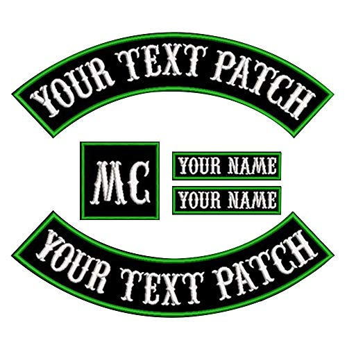 Custom Patch Vest Biker Motorcycle Rocker Name Patches (Green on Black)
