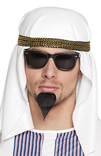 shoperama Set arabischer Öl-Scheich Hut/Tuch Sonnen-Brille Spitz-Bart Araber Orient Kostüm-Zubehör Kopfbedeckung ()