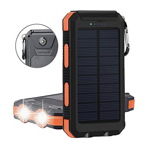 Digital-kingdom Waterproof Portable External Battery USB – 20000Mah Solar Power Bank/ Charger With Built In Led Light And Compass For Ipad Iphone Android Cellphones (Black/ Orange)