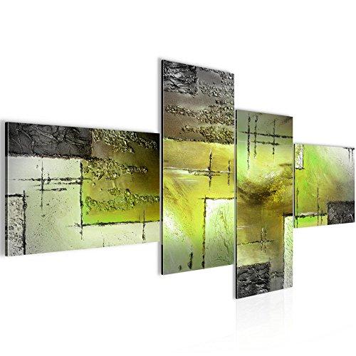 Runa Art Bilder Abstrakt Wandbild 200 x 100 cm Vlies - Leinwand Bild XXL Format Wandbilder Wohnzimmer Wohnung Deko Kunstdrucke Grün 4 Teilig - Made in Germany - Fertig Zum Aufhängen 100941c
