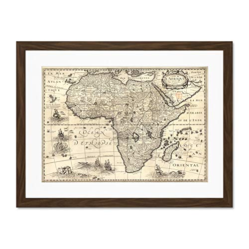 Map Antique Continental Africa Bertius Large Art Print Poster Wall Decor 18x24 inch Supplied Ready to Hang with Included Mount Brackets Karte Antiquität Afrika Große Kunst Wand Deko - Afrika Antique Print
