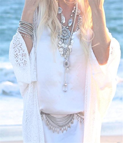 ZKKK Sommer Lace Strickjacke Langer Abschnitt Der Strandsonneschutzkleidung Strickjacke Mantel Weibliche Badeanzug Bikini Bluse Weiß