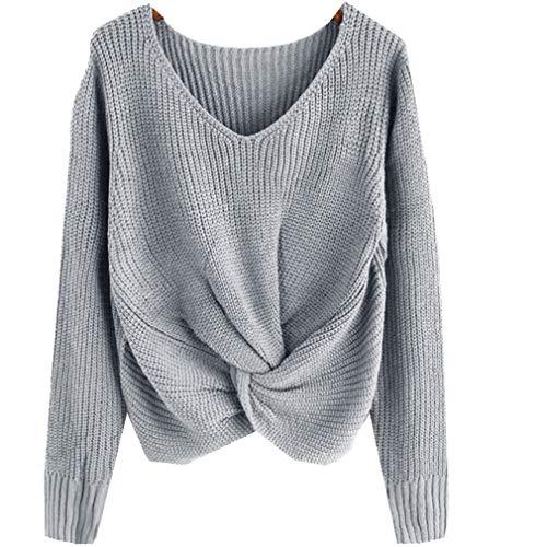 MEIbax Damen Langarm Einfarbig Strickpullover V-Ausschnitt Sexy Kreuz Verknotet Panel Pullover Sweatshirt Wollpullover