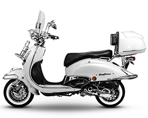 Retro Roller Easy Cruiser Chrom 25 km/h Mofa 50 ccm perlweiß Motorroller Scooter Moped Easycruiser weiß