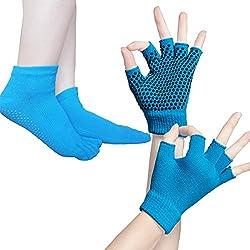 SANIQUEEN.G Mujer Deportes Yoga Pilates Calcetines y Guantes Conjunto, Algodón Antideslizante Calcetines del Dedo (Azul)