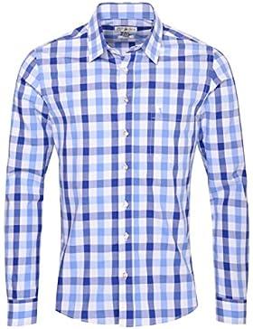 Almsach Trachtenhemd Roman Slim Fit Zweifarbig in Blau und Hellblau Inklusive Volksfestfinder