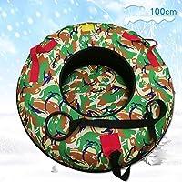 ZHAOK Trineo Hinchable de Nieve 100CM Tubo de Esquí Inflable con Manijas Snow Tube Juguetes de Nieve Invierno para Niños y Adultos,c