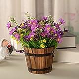 ANSODT Künstliche Fake Blumen Holzfass Chrysantheme Home Deko Blume lila