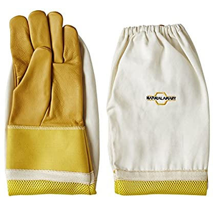 Natural Apiary® BEEKEEPING GLOVES - COWHIDE - VENTED SLEEVES & STING PROOF CUFFS - SMALL - Durable Leather - Extra Long Thick Sleeves 3