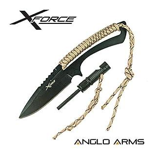 Anglo Arms X Force Messer mit 9cm fester Messerklinge inklusive Feuerzeug, Pfeife, Etui, ideal für die Jagd oder für Überlebensaktivitäten