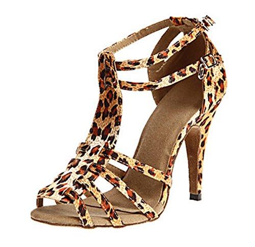 Minitoo T-strap pour talon de l'escarpin chaussure de mariage en Satin Sexy Soirée danse-latins Marron - marron