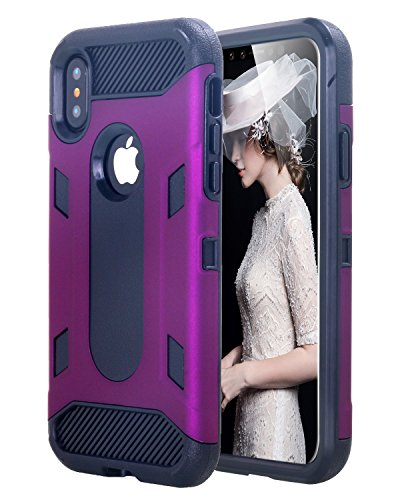 Custodia iPhone X,Custodia iPhone 10,iPhone X Case Snewill 2 in 1 Heavy duty Hybrid Armor Anti-Slip Dual Layer Protection Shockproof PC TPU Combo Cover Case for Apple iPhone X - Purple/Black Purple/Black