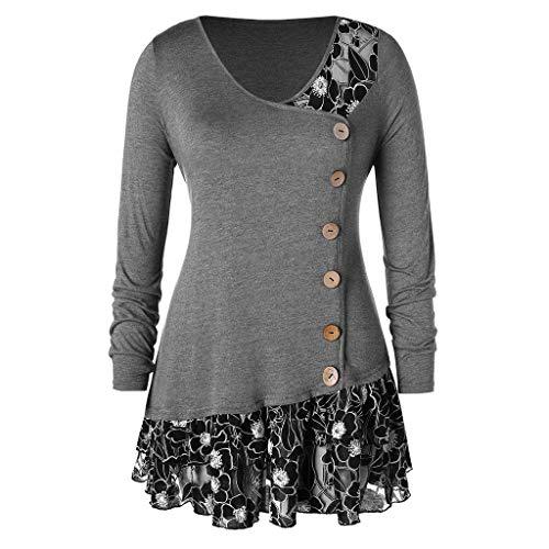Dhyuen Frauen Mode Tunika Tops Plus Size Floral Bedruckte Patchwork Langarm V-Ausschnitt Taste Deocr Spitzenbesatz Bluse Hemd Pullover