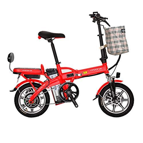 Luyuan - Bicicletta elettrica Pieghevole da 35,6 cm, con Batteria al Litio da 48 V, per Uomini e Donne, per Adulti, Durata 45-50 km, Metallo, Bianco, 123 * 30 * 93CM