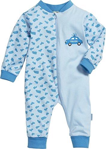 Playshoes Unisex Baby Schlafstrampler Schlafanzug Schlafoverall Jersey Polizei, Gr. 80, Blau (original 900)