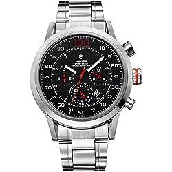 Alienwork Quartz Watch XXL Oversized Wristwatch Multi-function Metal black silver OS.WH-3311-4