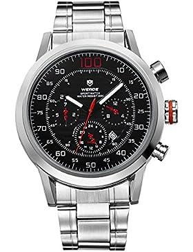 Alienwork Quarz Armbanduhr XXL Oversized Quarzuhr Uhr Multi-funktion schwarz silber Metall OS.WH-3311-4