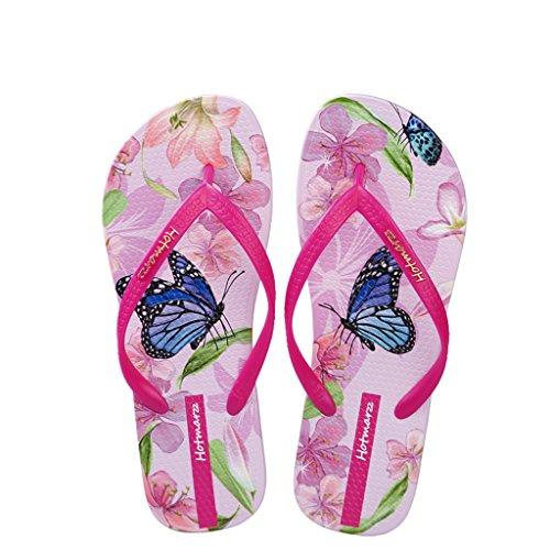 Hotmarzz Chanclas de Playa Sandalias Mujer Verano Pantuflas Animales Mariposa Floral Goma Slides Zapatillas de Casa Piscina Ducha Size 39 EU/40 CN, Rosa Rojo