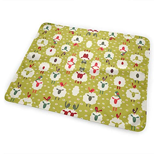 Bikofhd Changing Pad Sheep Birds Wallpaper 2909 Portable Diaper Changing Pad - for Baby Showers Changing Mats and Reusable Detachable Wipe Able Mat- Unisex -