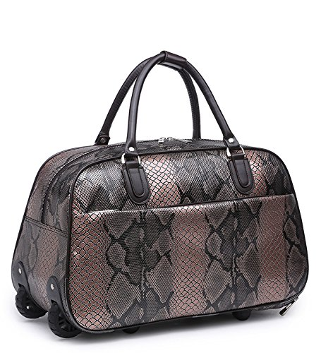 Big Handbag In volo Holiday Travel-Borsone per Weekend Borsa-Trolley bagaglio a mano Black - Leopard Print