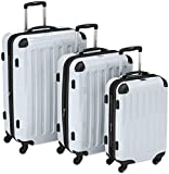 HAUPTSTADTKOFFER – Alex – Set of 3 Hard-side Luggages Glossy Suitcase Hardside Spinner Trolley Expandable (S, M & L) White