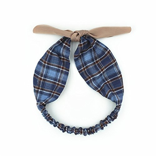 Fashionshao Vintage British Style Rabbit Ears Wide Side Hair Band Plaid Contrast Ribbon Headband, Blue
