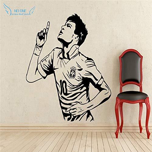 jiushizq Wohnkultur Poster Sport Wandaufkleber PVC Vinyl Abnehmbare Kunstwand Fußballstar Neymar Tore Jungen Zimmer Wand Stic Rot 40x58 cm