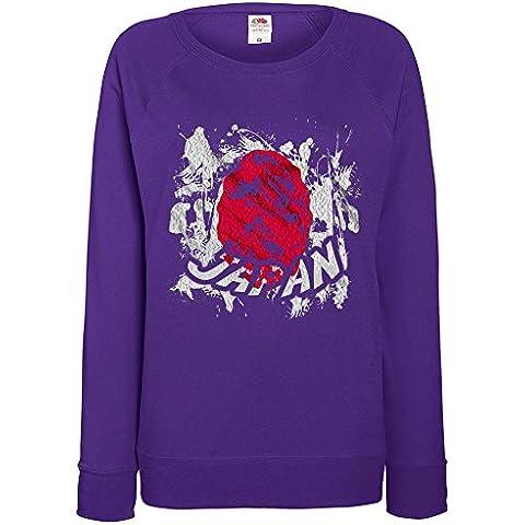 Bandiere Firmata Collezione 2, Fruit of the Loom Felpa Raglan Leggera da Donna Porpora Womens Sweatshirt con Design Colorato. Taglia XS 36, S 38, M 40, L 42, XL 44, 2XL 46. - Vintage Firmata Giappone