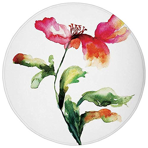 Round Rug Mat Carpet,Watercolor Flower,Shaded Single Poppy Flowering Plant Muse in the Nature Earth Divine Grace,Red Green White,Flannel Microfiber Non-slip Soft Absorbent,for Kitchen Floor Bathroom - Oversized-muse