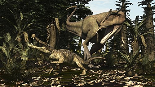 Arthur Dorety/Stocktrek Images – A large Carcharodontosaurus attacks a Kaprosuchus. Photo Print (46,99 x 26,42 cm)