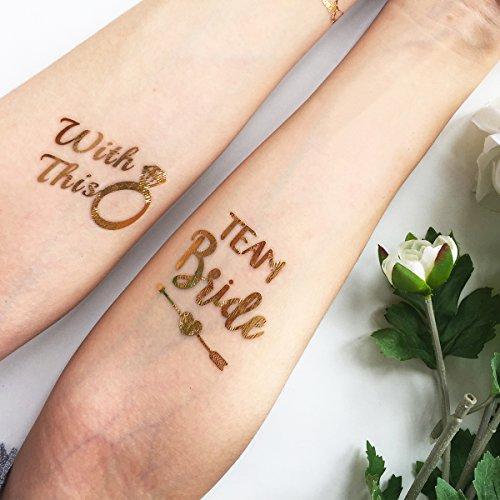 Chileeany set di 16 fogli tatuaggi temporanei,con tatuaggi sposa e tatuaggi bridemaid, team bride & bride, impermeabile tatuaggio temporaneo 6×6cm
