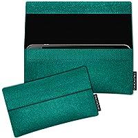 SIMON PIKE Huawei P10 Lite Filztasche Case Hülle 'NewYork' in smaragd 1, passgenau maßgefertigte Filz Schutzhülle aus echtem Natur Wollfilz, dünne Tasche im schlanken Slim Fit Design für das P10 Lite