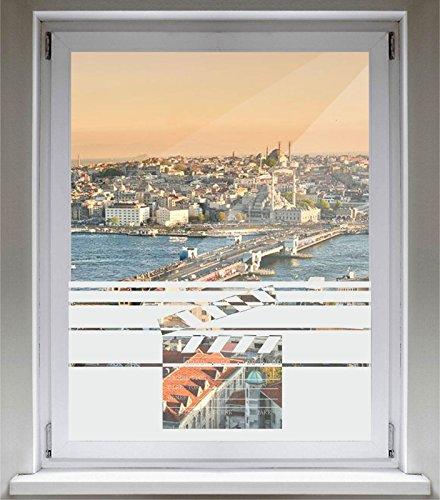 tzfolie Glasdekorfolie Fensterfolie mit Motiv satiniert blickdicht - E120 Szene-Box - 1000 mm Länge - 500 mm Höhe Streifen (Streifen-dusche-szene)